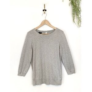 TALBOTS Gray Silver 3/4 Sleeve Sweater Keyhole L